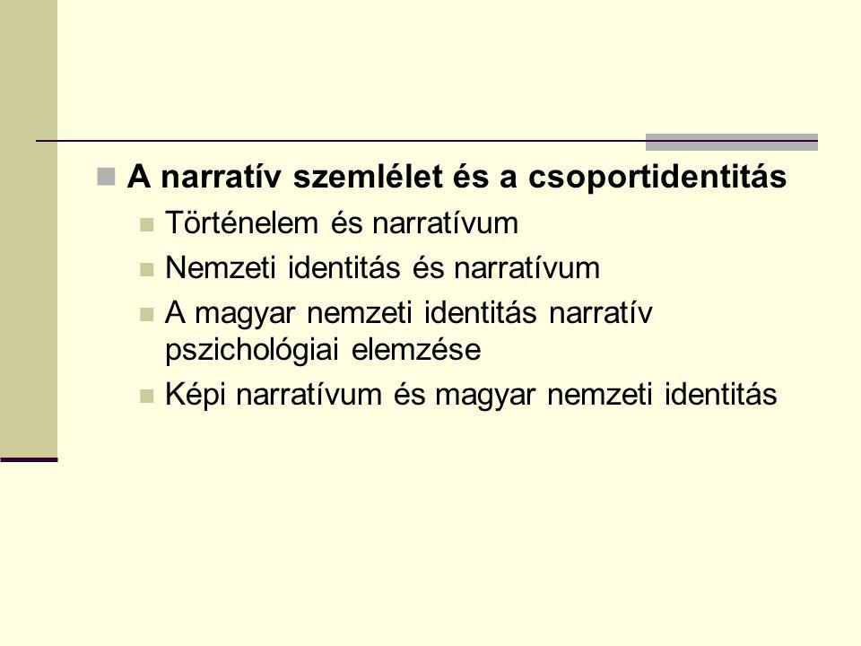 A narratív szemlélet és a csoportidentitás Történelem és narratívum Nemzeti identitás és narratívum A magyar nemzeti identitás narratív pszichológiai elemzése Képi narratívum és magyar nemzeti identitás