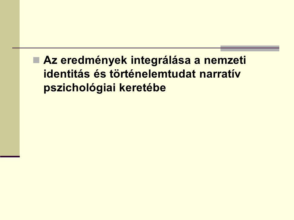Az eredmények integrálása a nemzeti identitás és történelemtudat narratív pszichológiai keretébe