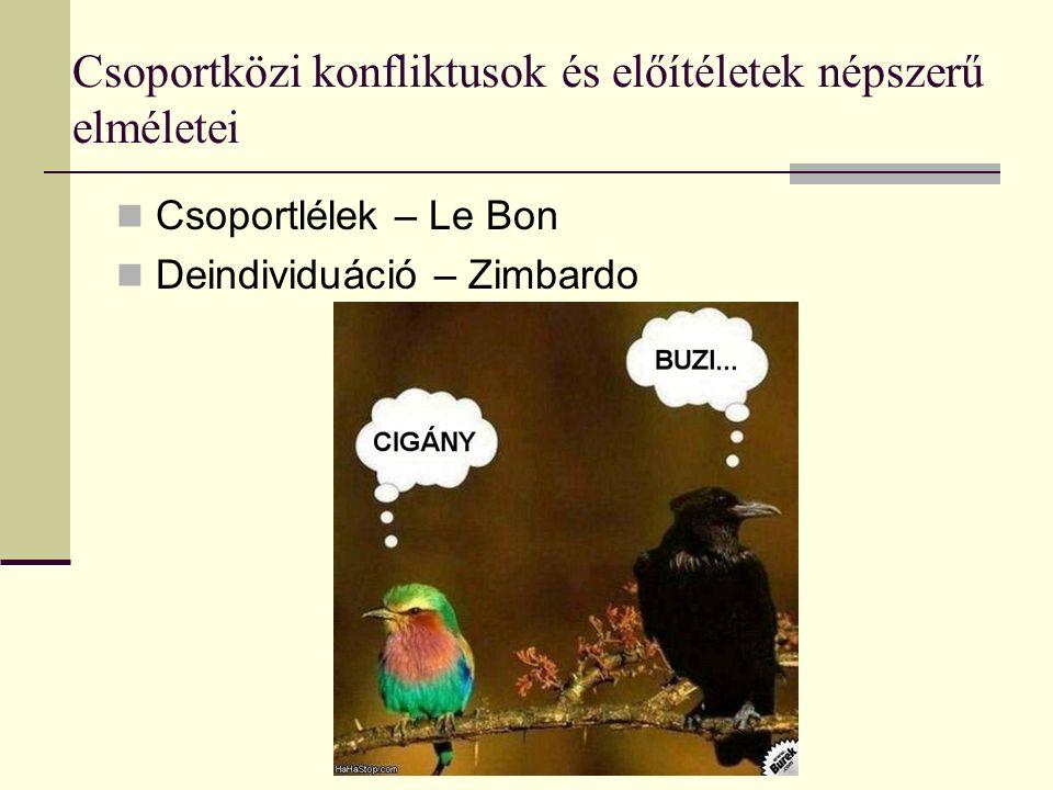 Csoportközi konfliktusok és előítéletek népszerű elméletei Csoportlélek – Le Bon Deindividuáció – Zimbardo