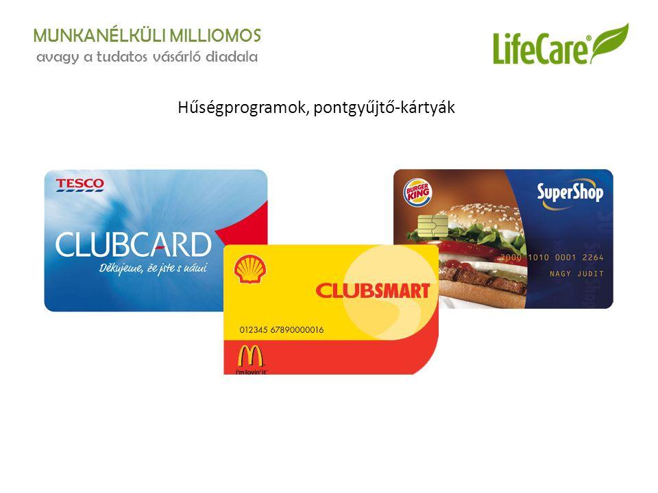 MUNKANÉLKÜLI MILLIOMOS avagy a tudatos vásárló diadala Hűségprogramok, pontgyűjtő-kártyák