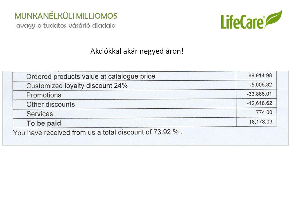 MUNKANÉLKÜLI MILLIOMOS avagy a tudatos vásárló diadala Akciókkal akár negyed áron!