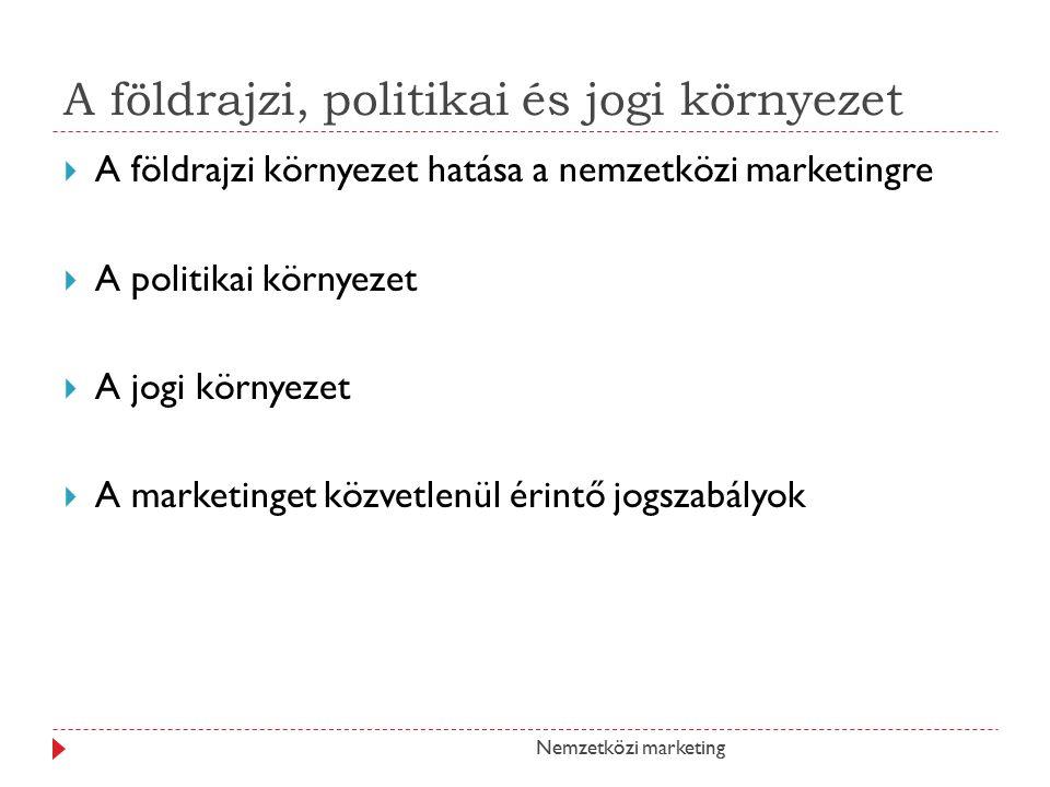 A földrajzi, politikai és jogi környezet  A földrajzi környezet hatása a nemzetközi marketingre  A politikai környezet  A jogi környezet  A marketinget közvetlenül érintő jogszabályok Nemzetközi marketing