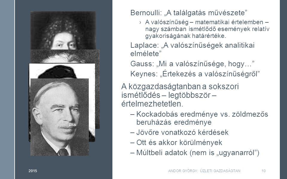 """Bernoulli: """"A találgatás művészete ›A valószínűség – matematikai értelemben – nagy számban ismétlődő események relatív gyakoriságának határértéke."""