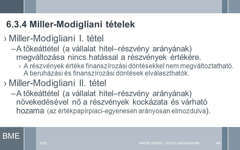 BME 2015ANDOR GYÖRGY: ÜZLETI GAZDASÁGTAN168 ›Miller-Modigliani I. tétel –A tőkeáttétel (a vállalat hitel–részvény arányának) megváltozása nincs hatáss