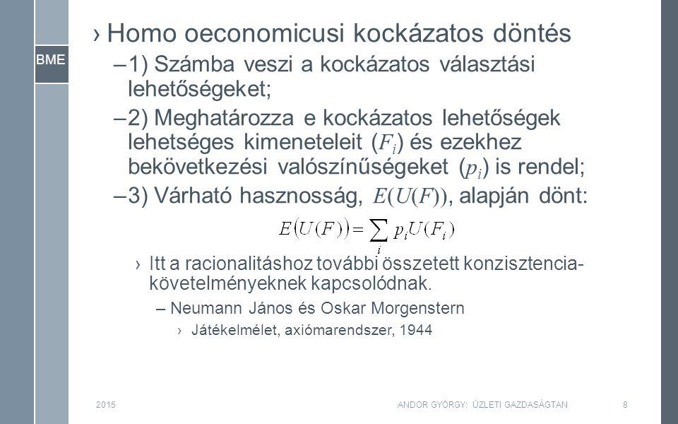 BME ›Homo oeconomicusi kockázatos döntés –1) Számba veszi a kockázatos választási lehetőségeket; –2) Meghatározza e kockázatos lehetőségek lehetséges kimeneteleit ( F i ) és ezekhez bekövetkezési valószínűségeket ( p i ) is rendel; –3) Várható hasznosság, E(U(F)), alapján dönt: ›Itt a racionalitáshoz további összetett konzisztencia- követelményeknek kapcsolódnak.