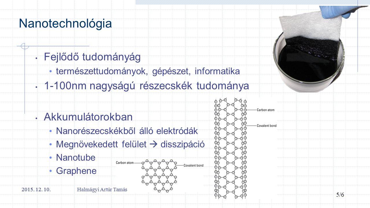 Nanotechnológia Fejlődő tudományág természettudományok, gépészet, informatika 1-100nm nagyságú részecskék tudománya Akkumulátorokban Nanorészecskékből álló elektródák Megnövekedett felület  disszipáció Nanotube Graphene 2015.