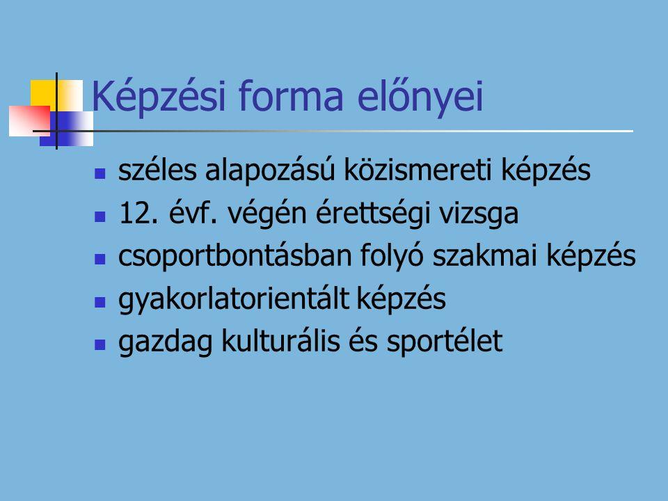 Képzési forma előnyei széles alapozású közismereti képzés 12.