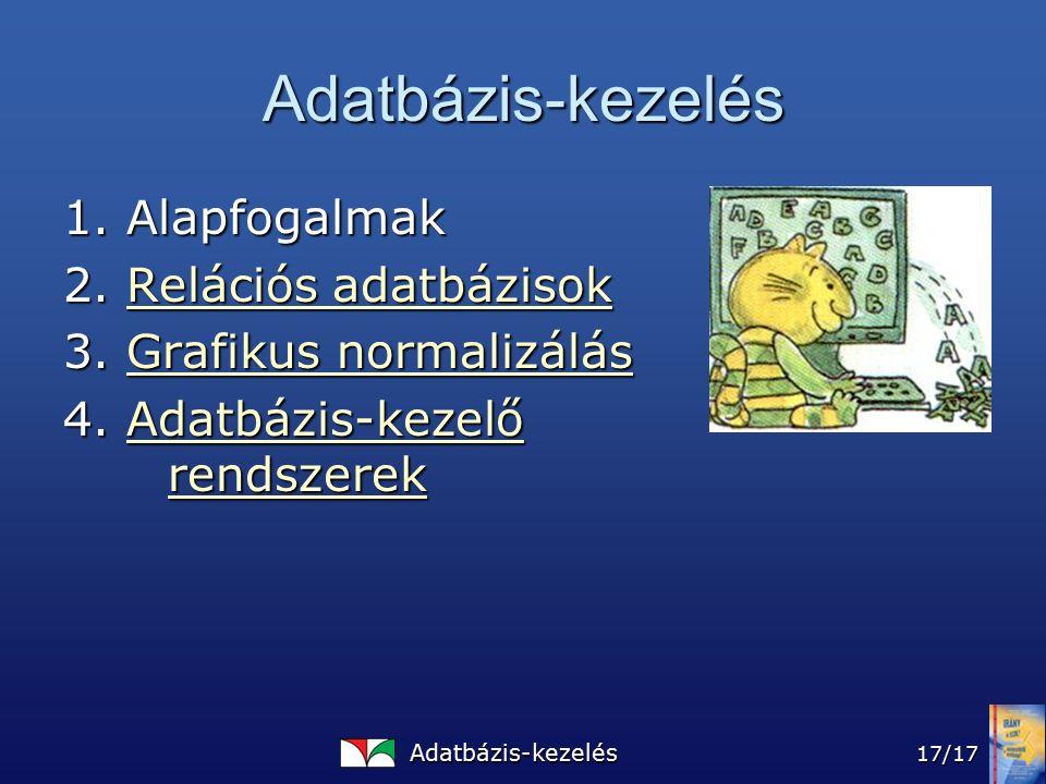 Adatbázis-kezelés 17/17 Adatbázis-kezelés 1.Alapfogalmak 2.