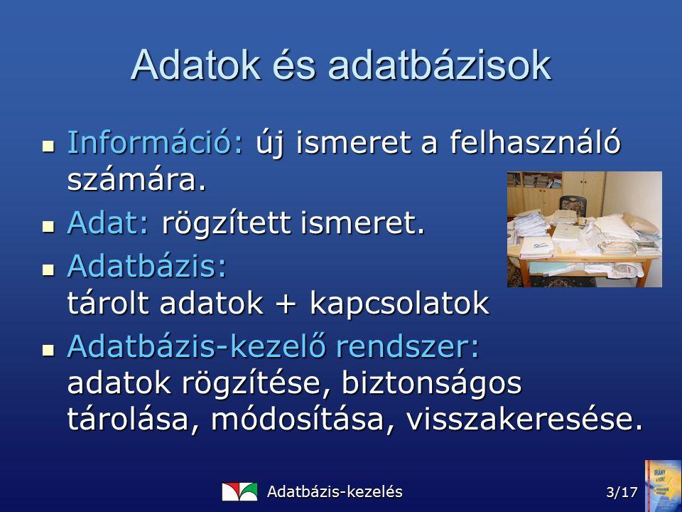 Adatbázis-kezelés 3/17 Adatok és adatbázisok Információ: új ismeret a felhasználó számára.