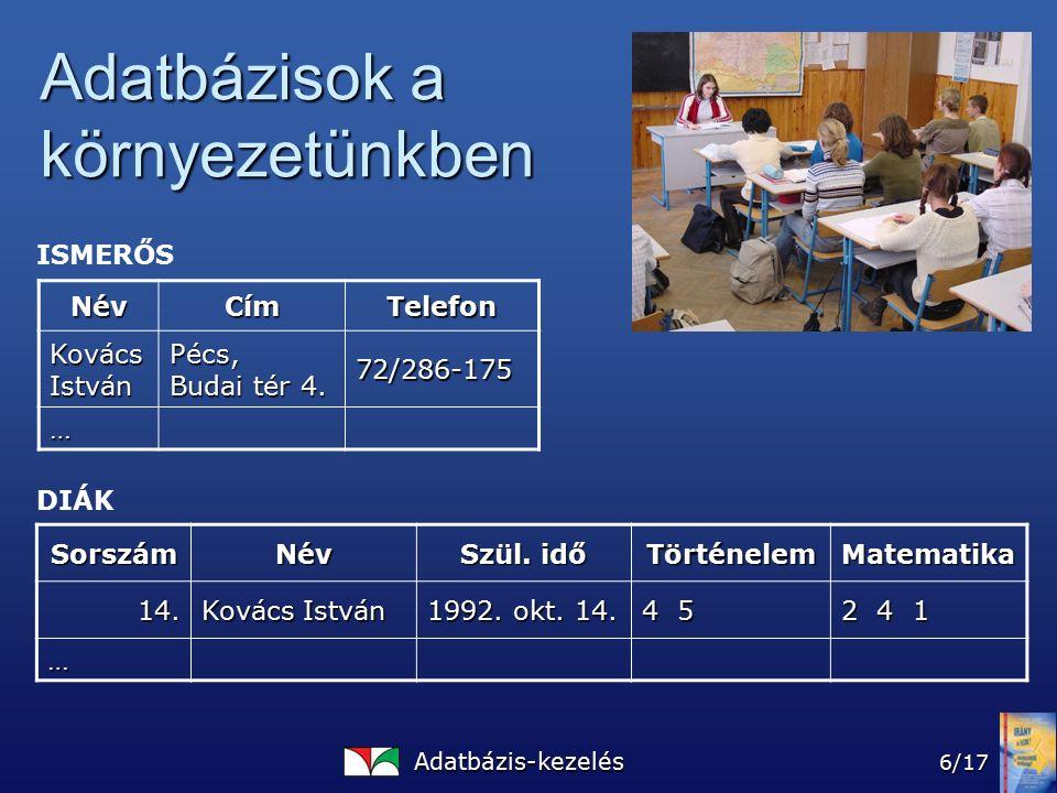 Adatbázis-kezelés 6/17 Adatbázisok a környezetünkben NévCímTelefon Kovács István Pécs, Budai tér 4.