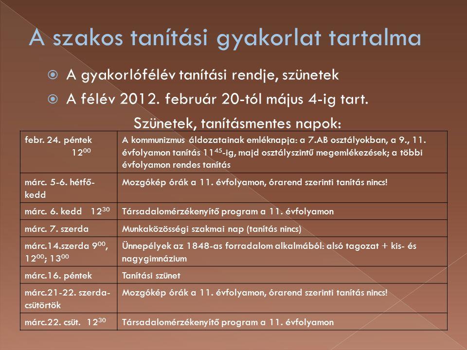  A gyakorlófélév tanítási rendje, szünetek  A félév 2012. február 20-tól május 4-ig tart. Szünetek, tanításmentes napok: febr. 24. péntek 12 00 A ko