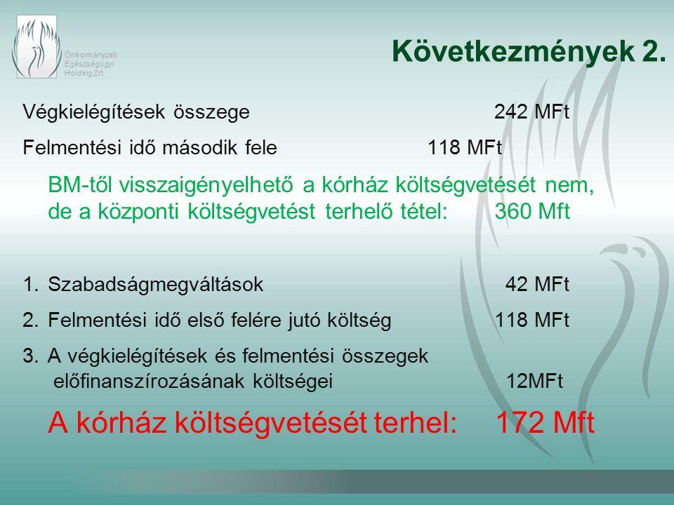 Önkormányzati Egészségügyi Holding Zrt. Következmények 2.