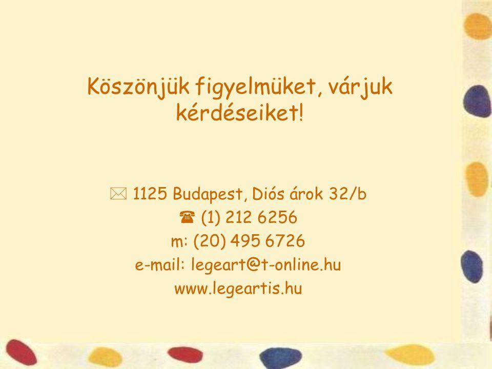 Köszönjük figyelmüket, várjuk kérdéseiket!  1125 Budapest, Diós árok 32/b  (1) 212 6256 m: (20) 495 6726 e-mail: legeart@t-online.hu www.legeartis.h