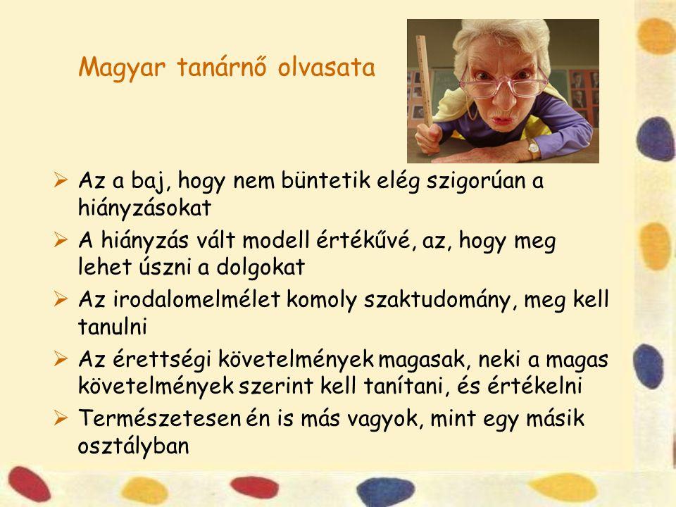 Magyar tanárnő olvasata  Az a baj, hogy nem büntetik elég szigorúan a hiányzásokat  A hiányzás vált modell értékűvé, az, hogy meg lehet úszni a dolg