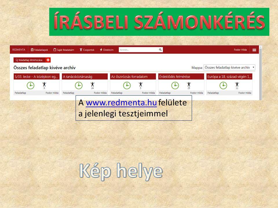A www.redmenta.hu felülete a jelenlegi tesztjeimmelwww.redmenta.hu