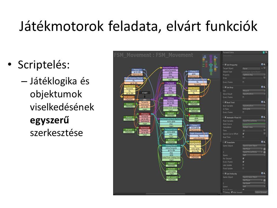 Játékmotorok feladata, elvárt funkciók Scriptelés: – Játéklogika és objektumok viselkedésének egyszerű szerkesztése