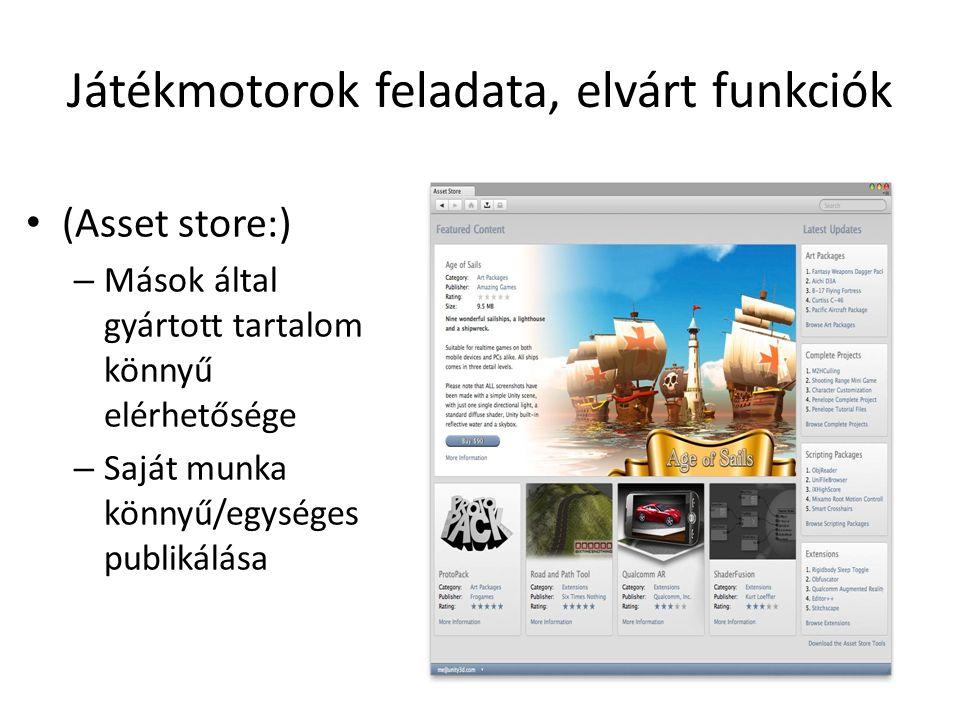 Játékmotorok feladata, elvárt funkciók (Asset store:) – Mások által gyártott tartalom könnyű elérhetősége – Saját munka könnyű/egységes publikálása