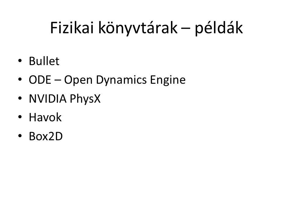 Fizikai könyvtárak – példák Bullet ODE – Open Dynamics Engine NVIDIA PhysX Havok Box2D