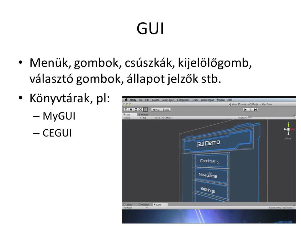 GUI Menük, gombok, csúszkák, kijelölőgomb, választó gombok, állapot jelzők stb.
