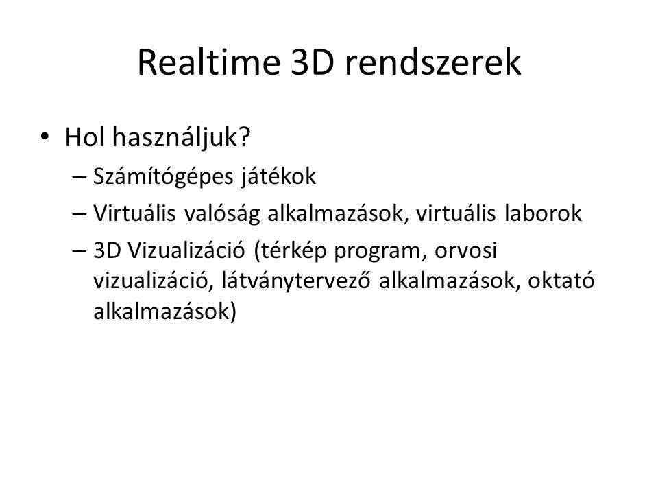 Realtime 3D rendszerek Hol használjuk.