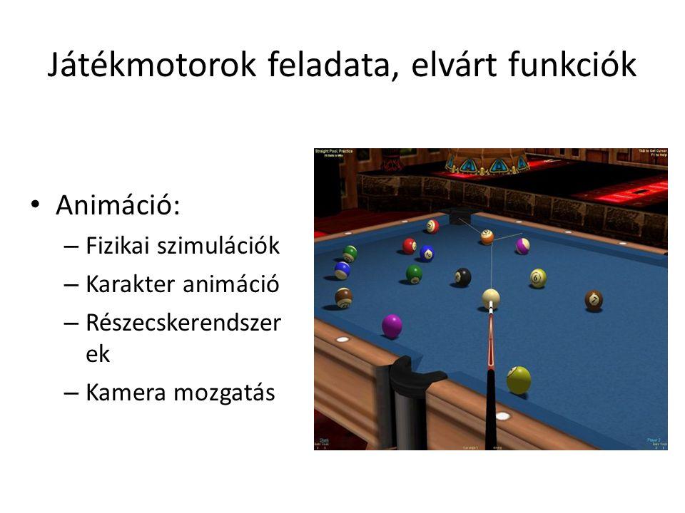Játékmotorok feladata, elvárt funkciók Animáció: – Fizikai szimulációk – Karakter animáció – Részecskerendszer ek – Kamera mozgatás