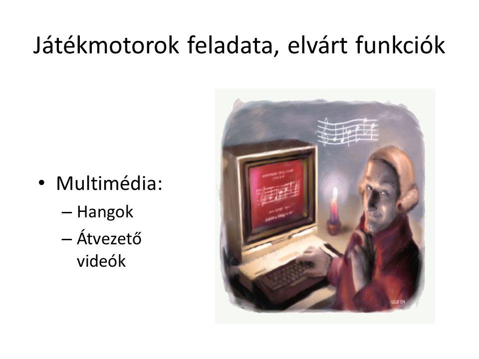 Játékmotorok feladata, elvárt funkciók Multimédia: – Hangok – Átvezető videók