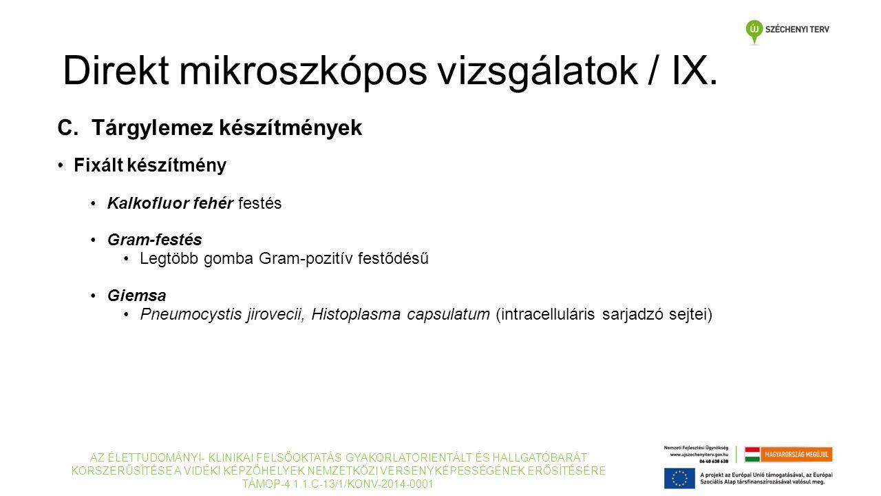 C. Tárgylemez készítmények Fixált készítmény Kalkofluor fehér festés Gram-festés Legtöbb gomba Gram-pozitív festődésű Giemsa Pneumocystis jirovecii, H