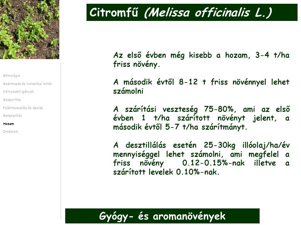 Az első évben még kisebb a hozam, 3-4 t/ha friss növény. A második évtől 8-12 t friss növénnyel lehet számolni A szárítási veszteség 75-80%, ami az el