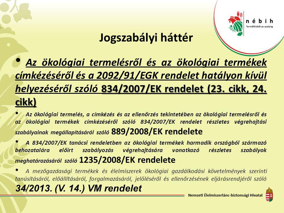 Jogszabályi háttér 834/2007/EK rendelet (23. cikk, 24. cikk) Az ökológiai termelésről és az ökológiai termékek címkézéséről és a 2092/91/EGK rendelet