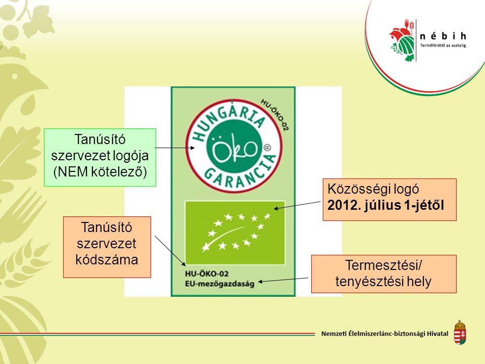 Közösségi logó 2012. július 1-jétől Termesztési/ tenyésztési hely Tanúsító szervezet logója (NEM kötelező) Tanúsító szervezet kódszáma