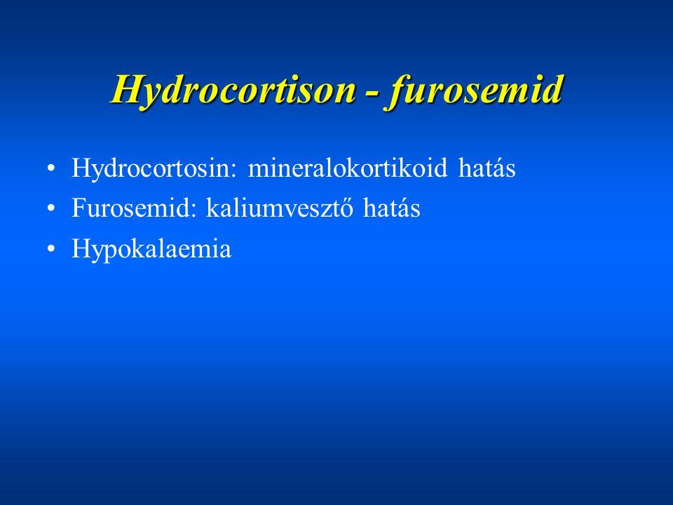 Hydrocortison - furosemid Hydrocortosin: mineralokortikoid hatás Furosemid: kaliumvesztő hatás Hypokalaemia