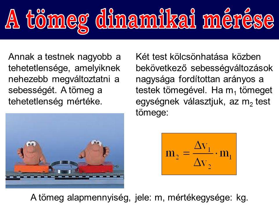 Az azonos anyagú, homogén, tömör testek tömege és térfogata egyenesen arányos: m ∼ V.