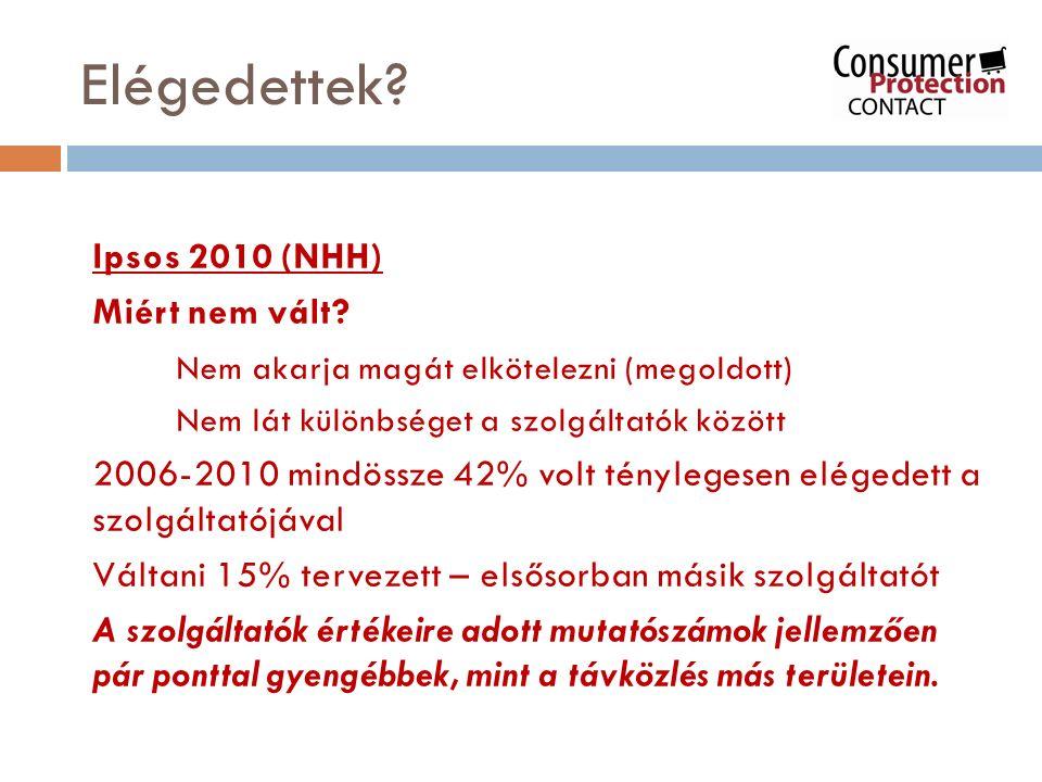 Elégedettek? Ipsos 2010 (NHH) Miért nem vált? Nem akarja magát elkötelezni (megoldott) Nem lát különbséget a szolgáltatók között 2006-2010 mindössze 4