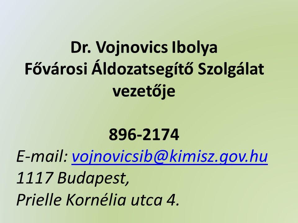 Dr. Vojnovics Ibolya Fővárosi Áldozatsegítő Szolgálat vezetője 896-2174 E-mail: vojnovicsib@kimisz.gov.huvojnovicsib@kimisz.gov.hu 1117 Budapest, Prie