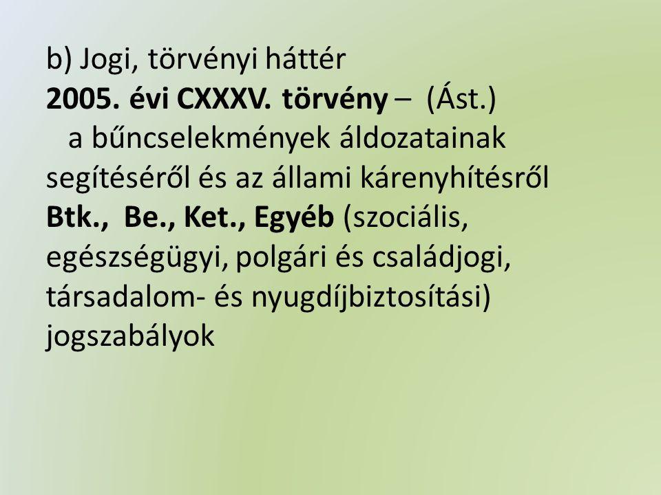b) Jogi, törvényi háttér 2005. évi CXXXV.