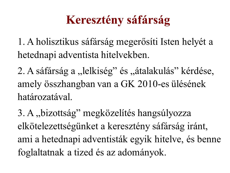 1. A holisztikus sáfárság megerősíti Isten helyét a hetednapi adventista hitelvekben.
