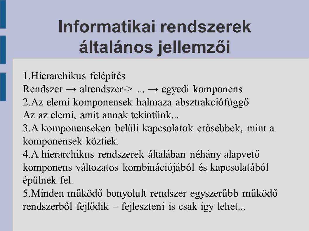 Informatikai rendszerek általános jellemzői 1.Hierarchikus felépítés Rendszer → alrendszer->...