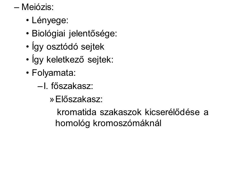 –Meiózis: Lényege: Biológiai jelentősége: Így osztódó sejtek Így keletkező sejtek: Folyamata: –I. főszakasz: »Előszakasz: kromatida szakaszok kicserél