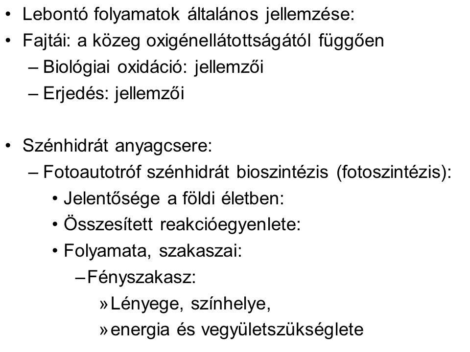 Lebontó folyamatok általános jellemzése: Fajtái: a közeg oxigénellátottságától függően –Biológiai oxidáció: jellemzői –Erjedés: jellemzői Szénhidrát a