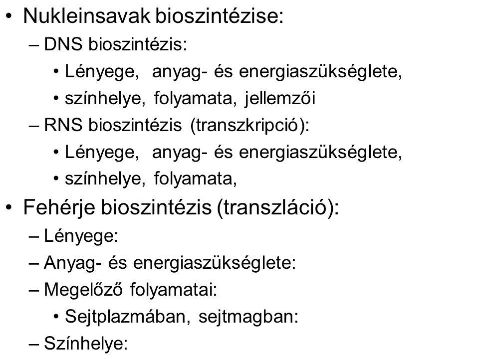 Nukleinsavak bioszintézise: –DNS bioszintézis: Lényege, anyag- és energiaszükséglete, színhelye, folyamata, jellemzői –RNS bioszintézis (transzkripció): Lényege, anyag- és energiaszükséglete, színhelye, folyamata, Fehérje bioszintézis (transzláció): –Lényege: –Anyag- és energiaszükséglete: –Megelőző folyamatai: Sejtplazmában, sejtmagban: –Színhelye: