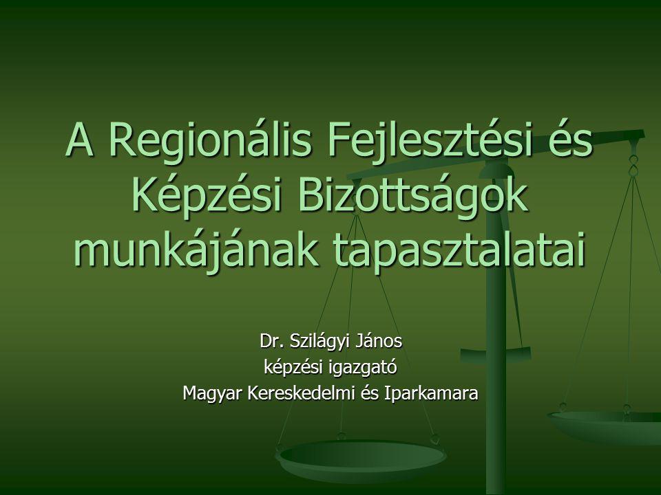 A Regionális Fejlesztési és Képzési Bizottságok munkájának tapasztalatai Dr.