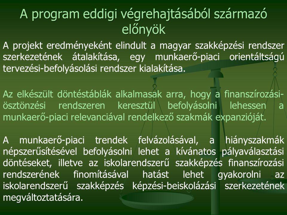 Koncepcionális kérdések  Képzési beiskolázási szerkezet: 3 éves szakképzés fejlesztési, struktúra átalakítási terv.