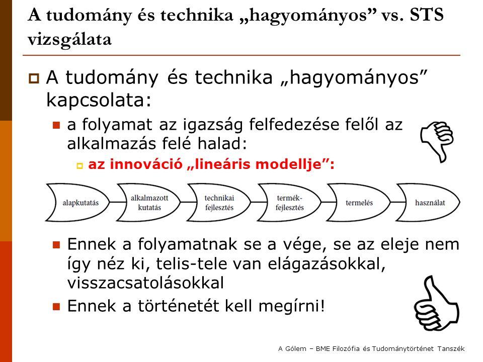"""A tudomány és technika """"hagyományos"""" vs. STS vizsgálata  A tudomány és technika """"hagyományos"""" kapcsolata: a folyamat az igazság felfedezése felől az"""