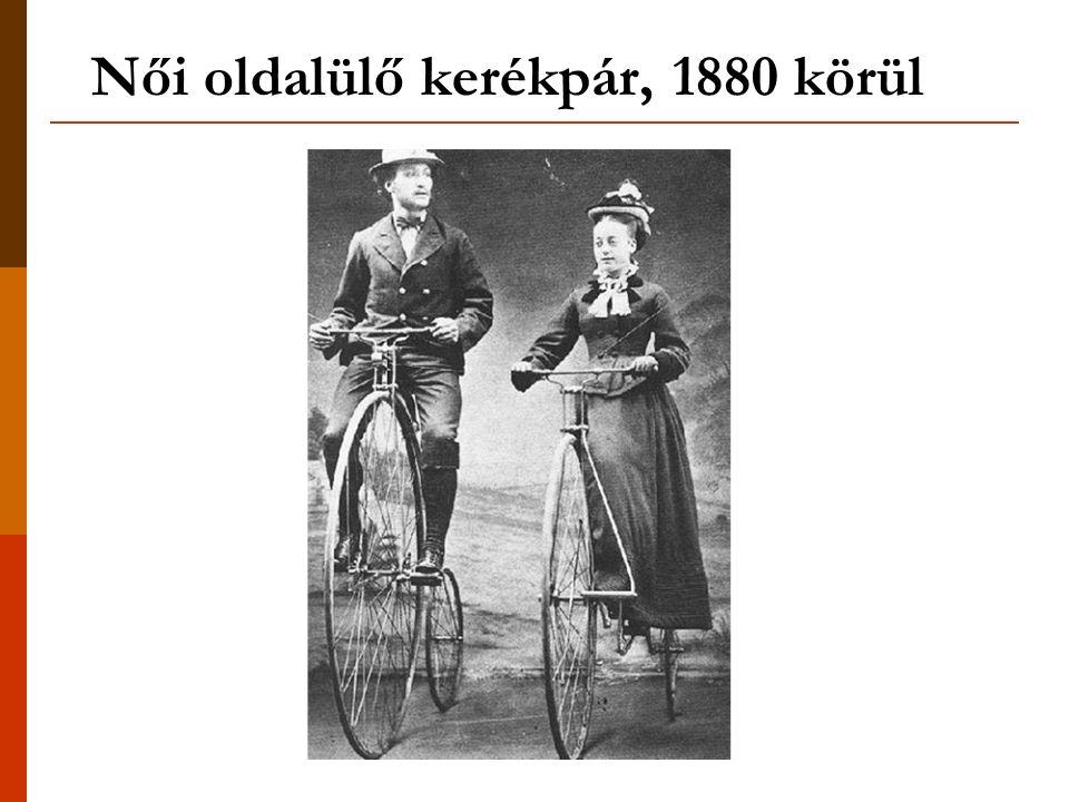 Női oldalülő kerékpár, 1880 körül