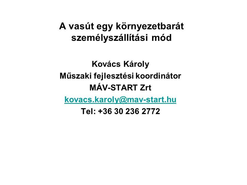 A vasút egy környezetbarát személyszállítási mód Kovács Károly Műszaki fejlesztési koordinátor MÁV-START Zrt kovacs.karoly@mav-start.hu Tel: +36 30 236 2772