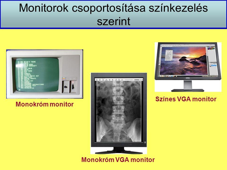 Monitorok csoportosítása színkezelés szerint Monokróm VGA monitor Színes VGA monitor Monokróm monitor