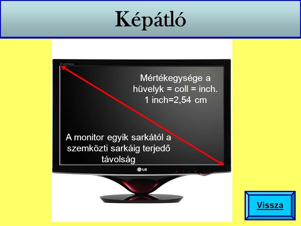 Képátló A monitor egyik sarkától a szemközti sarkáig terjedő távolság Mértékegysége a hüvelyk = coll = inch. 1 inch=2,54 cm Vissza