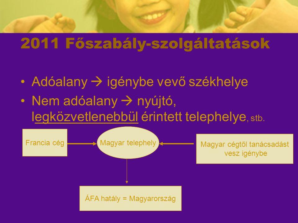 2011 – szolgáltatások (2) Adóalany magánszükségletet elégit ki 36§ (1/a) Nem adóalany, de (EU) adószámmal rendelkezik 36§ (1/b) Nem minősül adóalanynak!!!.