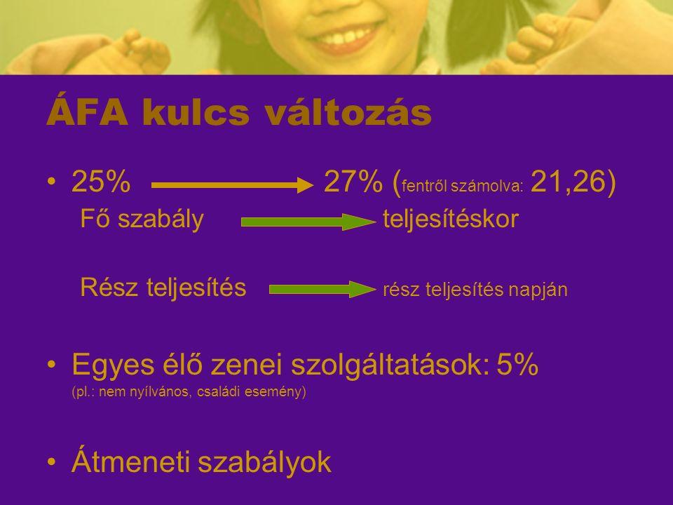 """Átmeneti szabályok – 58§ """"folyamatos jellegű ügyletek Teljesítési időszakFizetési határidő ÁFA kulcs 100%  2011201125 % 100%  2012201227 % 100%  2011201225 %(!!!) 100%  2012201125 % 2011 - 2012 (osztott)201125 % 2011 – 2012 (osztott)2012Napok arányában bontandó!"""