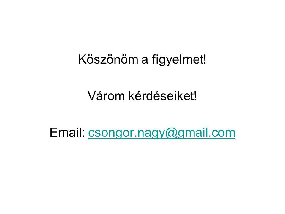 Köszönöm a figyelmet! Várom kérdéseiket! Email: csongor.nagy@gmail.comcsongor.nagy@gmail.com